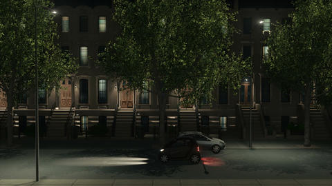 Night city street with apartment buildings and cars Animation