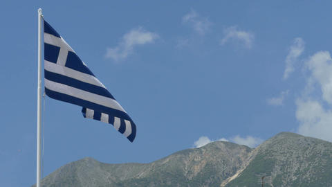 Greece Flag and Mountains Footage