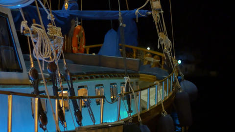 Night Harbor Ship View Footage
