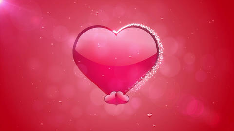 4k Romantic flying red love heart wedding background Seamless loop For St. Valen Animation