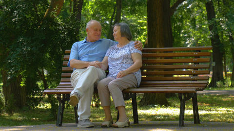 Senior couple relaxed talking on the park bench Image