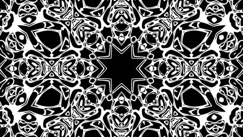 Black And White BW Intricate Kaleidoscope Pattern Motion Background Loop 5 Animation