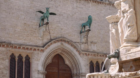 Gryffin and Lion statues on the facade of Perugia Palace, Italy Footage