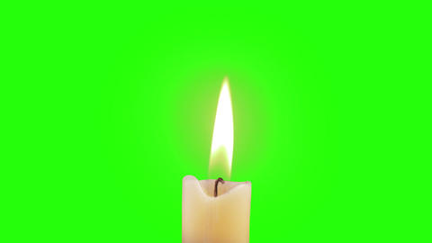 Candle Burning Green Screen - FHD Footage