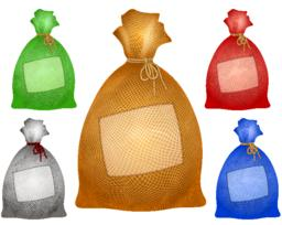 Sack Bag Patch Burlap Rope Realistic Filled Icon Set Vector