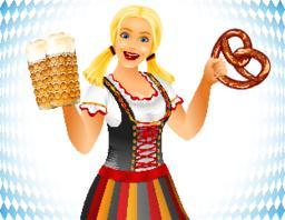 Oktoberfest Girl Salted Soft Pretzel Brezel Beer Glass Germany Holiday ベクター