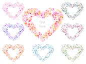 Heart Love Wedding Valentines Day Frame Circle Petal Set Vector