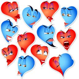 Set Smile Avatar Icon Heart Emotions Vector