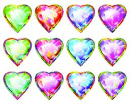 Heart Shape Multicolor Diamond Pendant Abstract Symbol Icon Set Vector