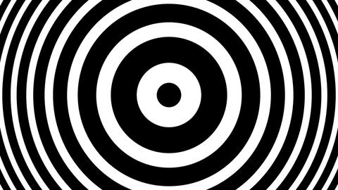 BW Concentric Circles Bulge Hypnotic Abstract Motion Background Loop Animation