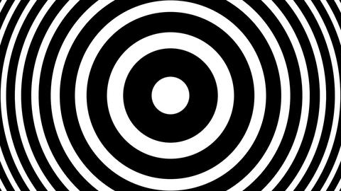 Slow BW Concentric Circles Bulge Hypnotic Abstract Motion Background Loop CG動画素材