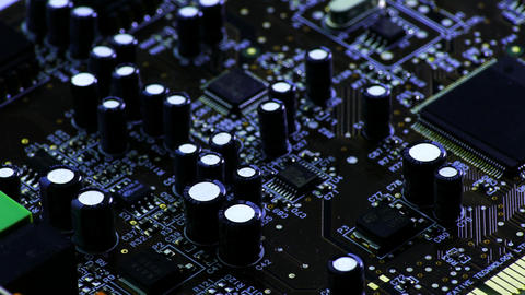 4K Rotating Printed Circuit Board With Microprocessors and Capacitors, Partially Footage