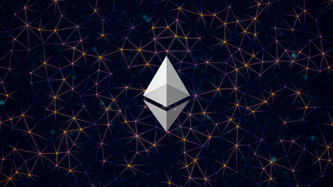 Etherium cryptocurrency in digital cyberspace. Financial or social background an Animación