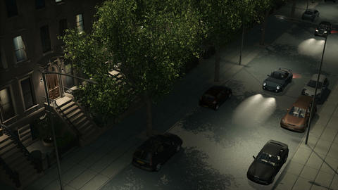 Night city street with brownstones and cars loopable Animación