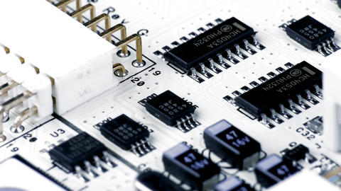 1080p Rotating White Printed Circuit Board, Microprocessors, Capacitors And Footage