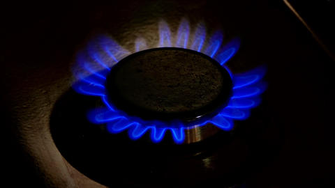 4K Gas-Plate Burner Turns on and Continues to Burn With Blue Flame Footage