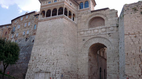 Perugia Etruscan arch tilt shot Footage
