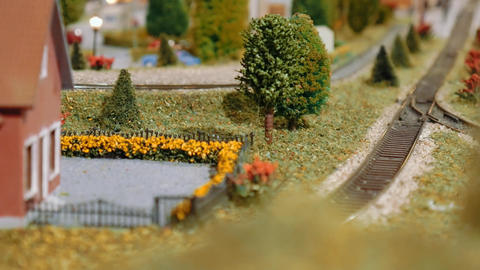 Model cargo trains and tram passing by, meet and cross on a diorama Live Action