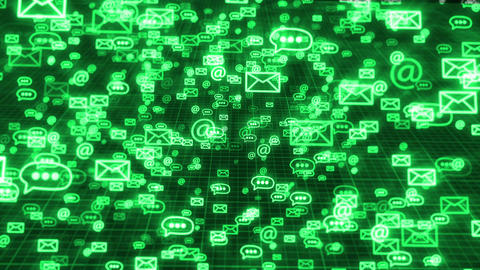 Glow sms, email and chat icons on a green backdrop Animation