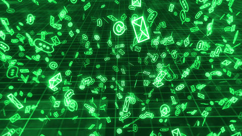 Sms, email and chat icons on green grid backdrop Animation
