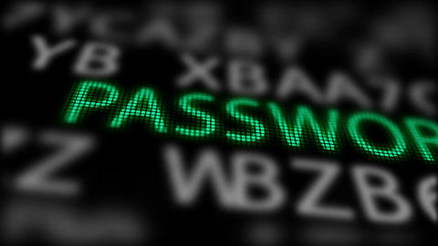Green Word -Password- between on a Black Animation