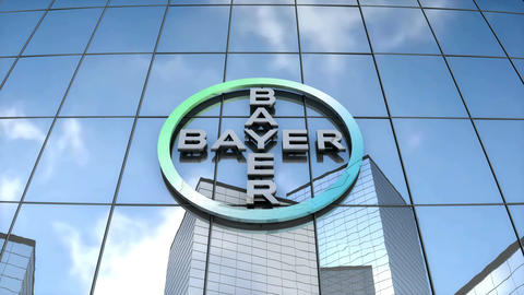 Editorial Bayer AG logo on glass building Animation