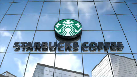 Editorial Starbucks logo on glass building Animation