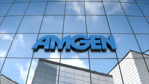 Editorial AMGEN logo on glass building Animation