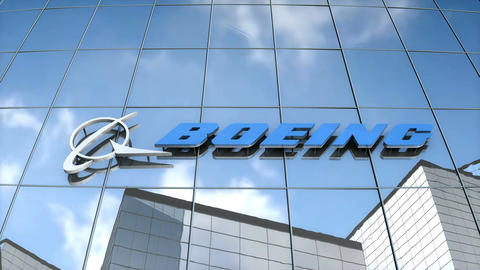 Editorial Boeing logo on glass building Animation