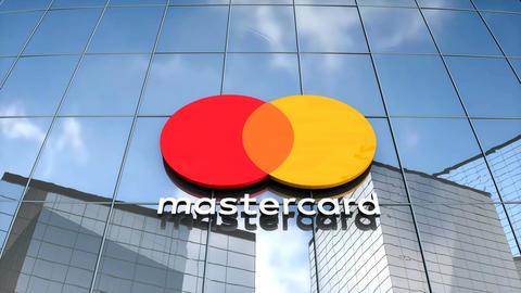 Editorial Mastercard logo on glass building Animation