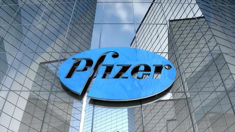 Editorial Pfizer logo on glass building Animation
