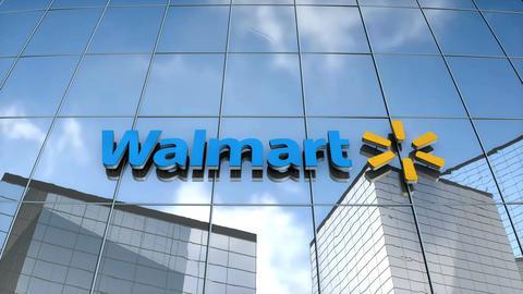 Editorial Walmart logo on glass building Animation