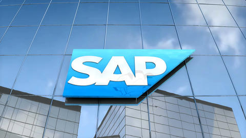 Editorial SAP logo on glass building Animation