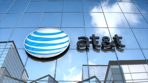 Editorial AT&T logo on glass building Animation