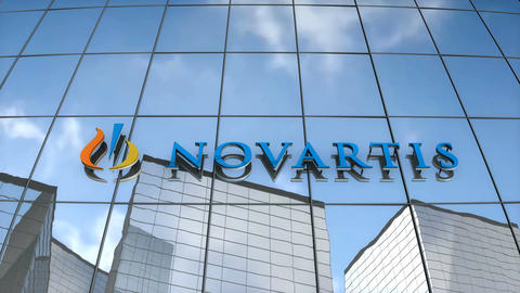 Editorial Novartis logo on glass building Animation
