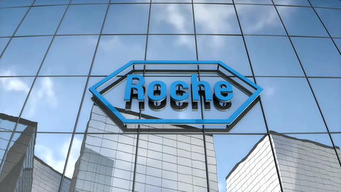 Editorial Hoffmann-La Roche logo on glass building Animation