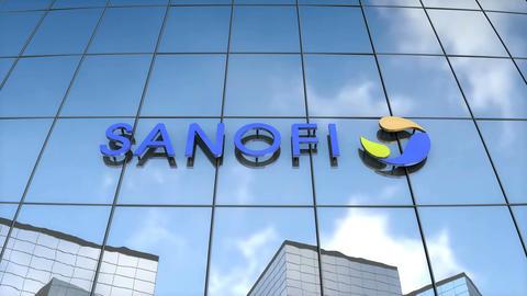 Editorial Sanofi logo on glass building Animation