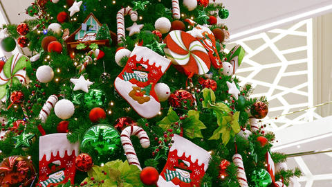 1080p Big Decorated Christmas Tree in Large Multi-Storey Shopping Mall Flickers Footage