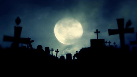 Scary Cemetery and Ravens on a Spooky Night with Full Moon Footage