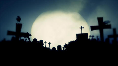 Full Moon Rising on a an Old Graveyard with Black Ravens 画像