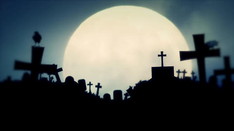 Creepy Cemetery with Full Moon and Ravens in Halloween Spirit Footage