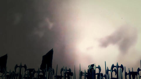 Great Medieval Army Before a Battle Under A Lightning Storm Footage