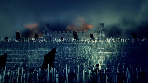 Great Medieval Army Invading a Burning Fortress Live Action