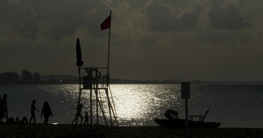 Silhouette Lifeguard Shore Footage