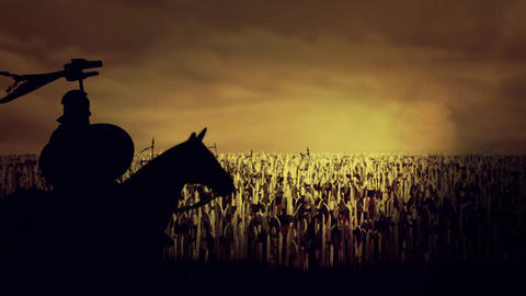 Roman Soldier Seating on His Horse In Front Thousands of Soldiers and Warriors Footage