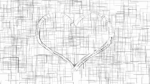 Outline heart symbol monochrome animation Animation