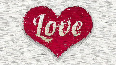 Word Love in red heart abstract collage Animation