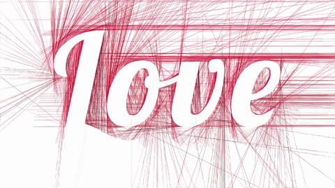 Love on abstract red hatched background Animation