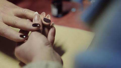 Beautiful Manicure With Rhinestones Timelapse stock footage