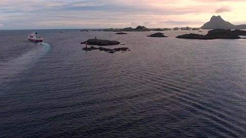 Chasing large cruise ship on norwegian coast Footage